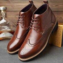 Hiver hommes chaussures de modèle de L'europe En Cuir Véritable Mâle martin bottes Grande taille 47 48 casual coton chaussures boty huarche