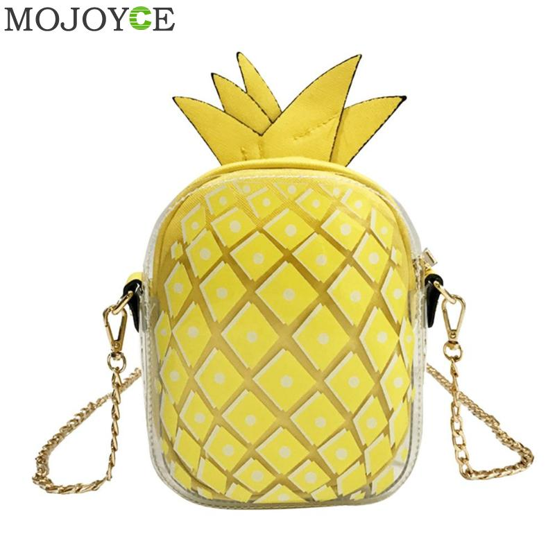 Candy Color Clear Women Pineapple Messenger Bags Fruit Shaped Small Flap Summer Purses Leather Travel Chains Shoulder Bag Girls