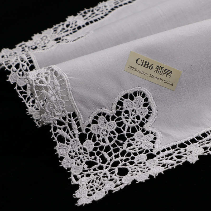 Lovely Hand Crochet Lace Hemstitch Embroidery String White Cotton Bag Pouch