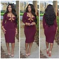 Burgundy Short Cocktail Dress Sheath Long Sleeve Women Party Dresses Formal Wear With Gold Beads African Skirt SAU317