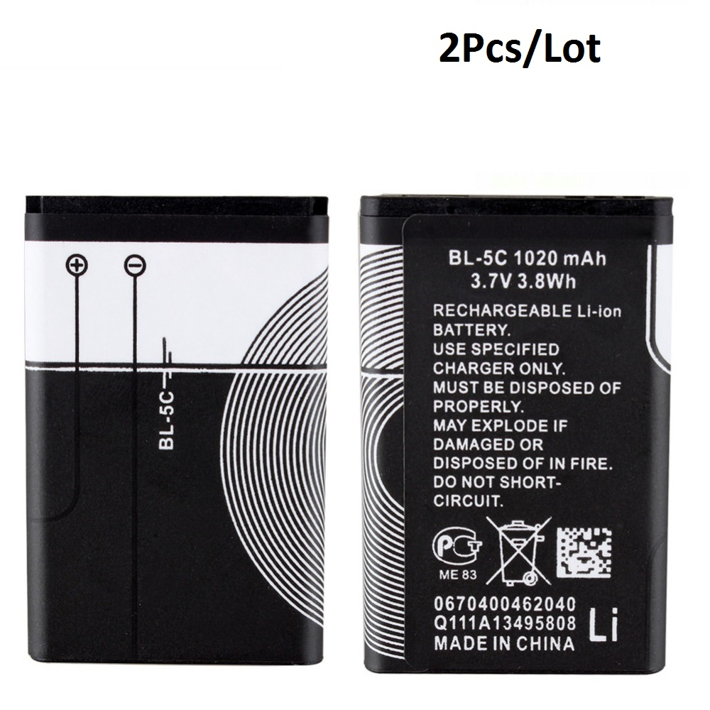 2Pcs For Nokia BL-5C Battery Lithium Rechargeable Batteries 1020mAh 1112 1208 1600 1100 1101 n70 n71 n72 n91 e60 Replace BL-4C bl 5j gd replacement 2450mah battery for nokia 5800xm 5802xm 5900xm 5228 5230 golden