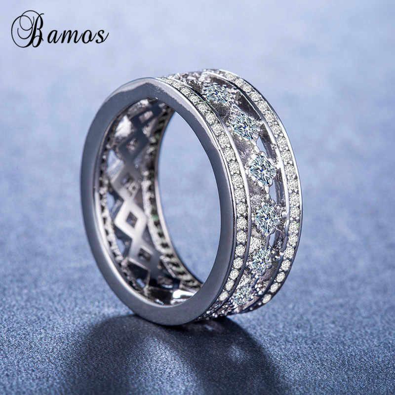 Bamos Luxo Fêmea Grande Anel de Pedra de Moda 925 Sterling Silver Cheio Anel de Dedo CZ Promessa Anéis de Noivado Para As Mulheres Presentes