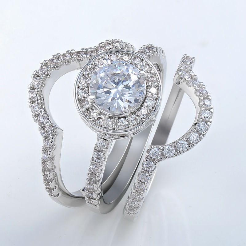 Newshe Solid 925 Sterling Silver 3 Pcs Wedding Ring Set Engagement