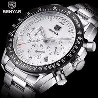 Relogio Masculino BENYAR Top Brand Luxury Mens Sport Military Army Watch Full Steel Chronograph Quartz Wristwatch Clock Men Saat