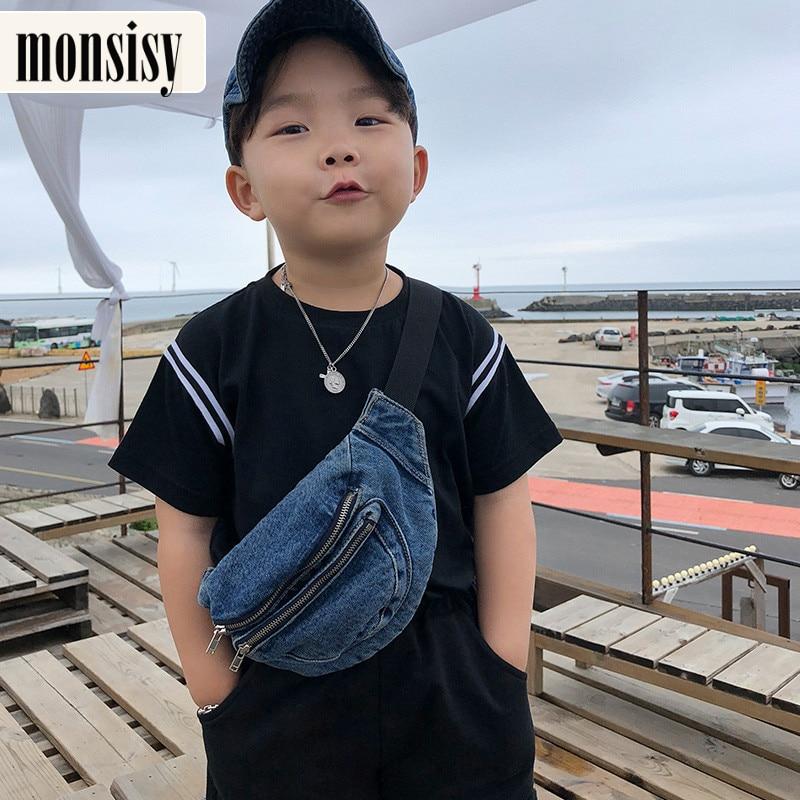 Monsisy 2020 Kid Denim Waist Bag For Girl Boy Fashion Fanny Pack Women Zipper Pocket Belt Bag Phone Pouch Children Wasit Pack