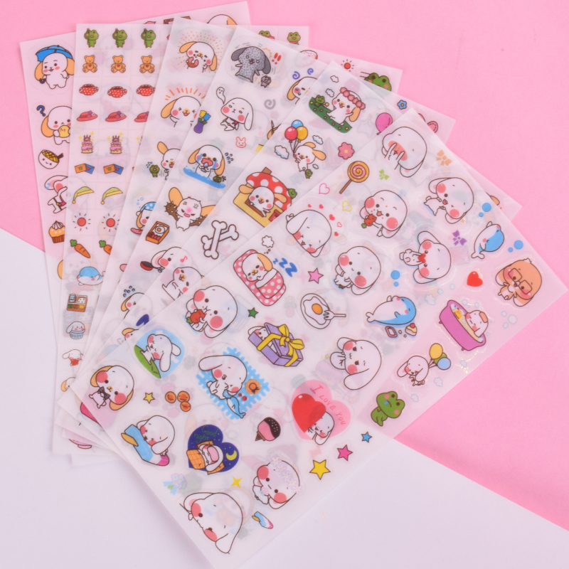 6 pcs/lot Cute Big ear dog PVC paper sticker child dress up diy decoration sticky album diary scrapbooking toys for kids post 70 pcs lot diy cute kawaii bear owl pvc decoration stickers cartoon dog cat sticky paper for photo album student 3332