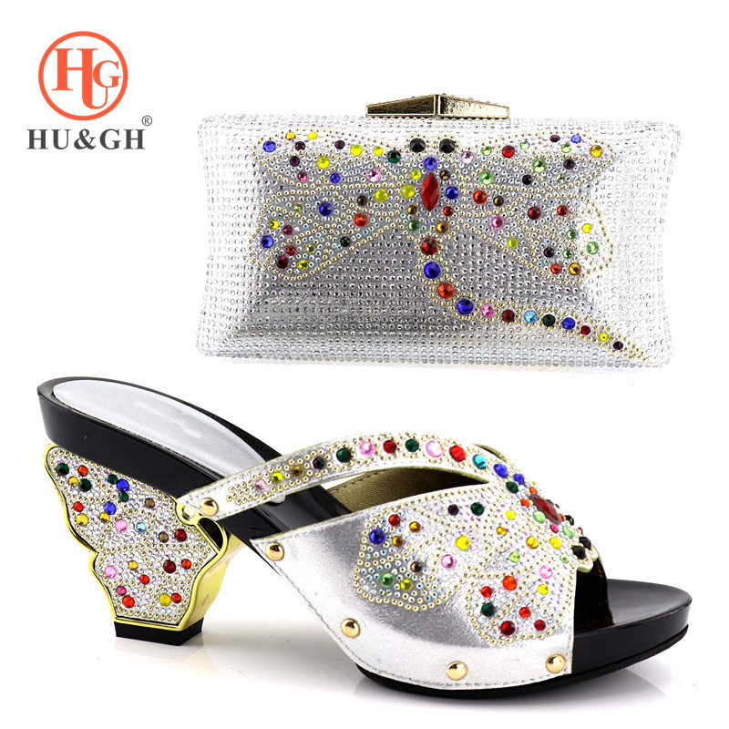 African Silver Shoes and Bag Set Italian Shoes with Matching Bags High Quality Women Shoe and Bag To Match ladies Wedding shoes hot artist shoes and bag set african sets italian shoes with matching bags high quality women shoes and bag to match set mm1055