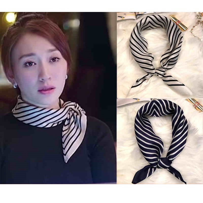 Fashion Stripe Print 100% Silk Bandana Neckerchief Small Square Silk Scarf Wraps for OL 53x53cm