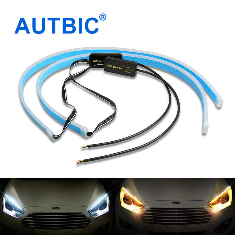 AUTBIC 2PCS Flexible LED DRL Strip 30CM 45CM 60CM Car Daytime Running Lights 12V Turn Signal Light White Amber Ice Blue