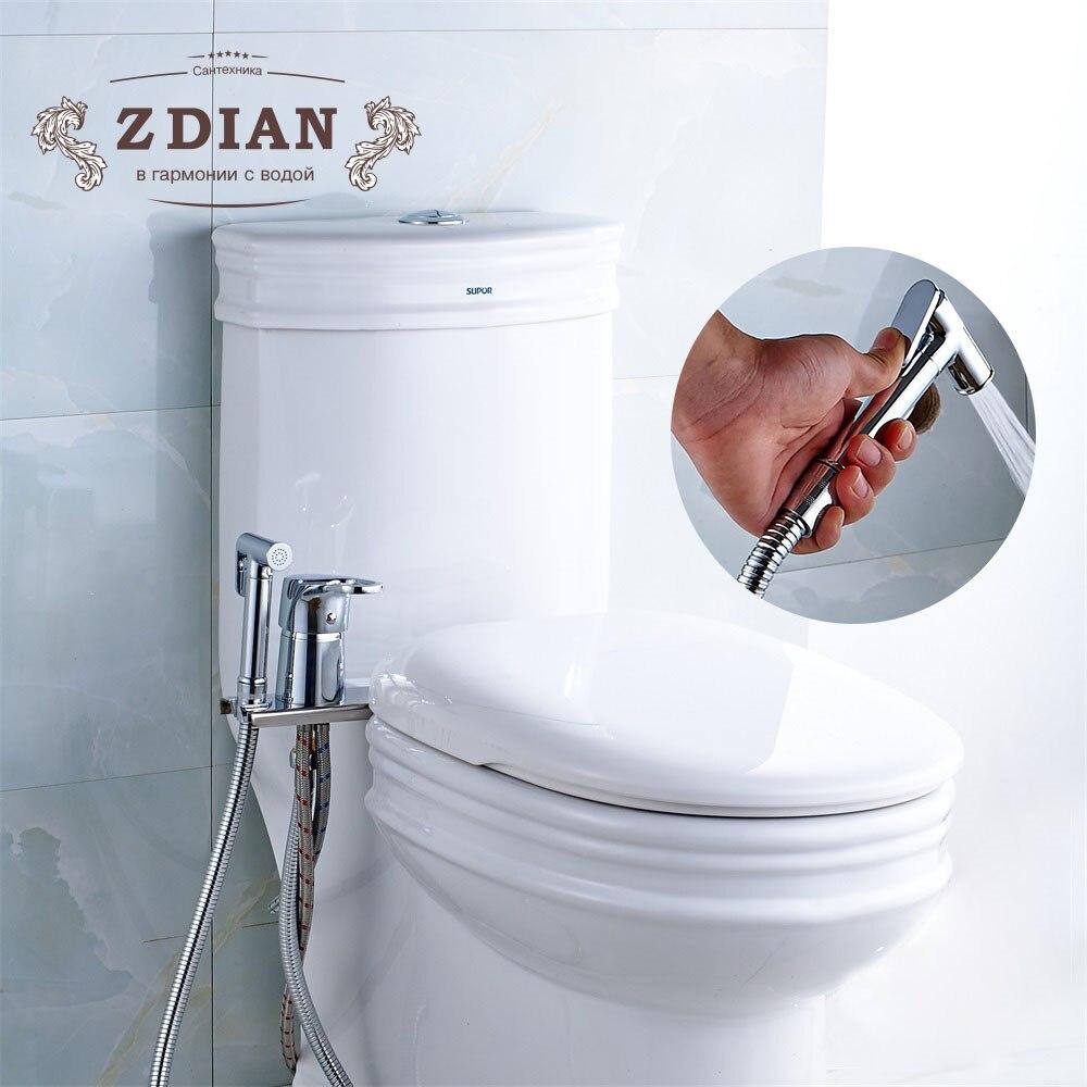 Nova Latão Chrome Handheld Bidé Wc Duche Bidé Portátil Set Com Água Quente e Fria Misturador de Bidê ducha higienica