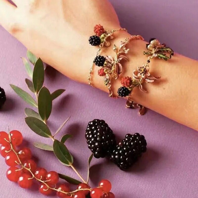 2018 Fashion Designer Amybaby Raspberry Blackberries Red Stone Womens Bracelets Enamelled Glaze Jewelry For Party