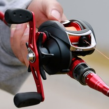 цена на Battlesea Fishing Reel Casting Reel Gear Ratio7.6 :1 Aluminum Spool Magnetic Brake Bearing 18+1 EVA Knob 218g Max Drag 16KG