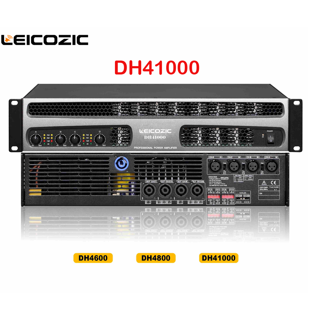 Leicozic DH41000 Professional Power Amplifier 1000w X 4 Channel Amplifier 1500w RMS Line Array Subwoofer Amplifier Power Supply