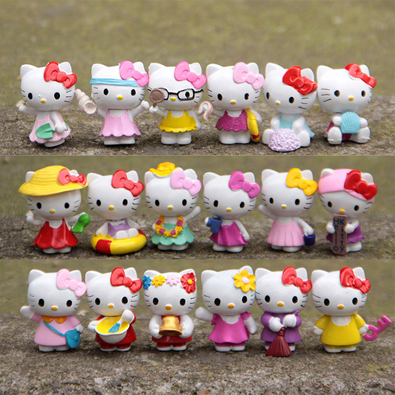 18pcs/lot Limited Edition Hello Kitty Toys Cute Kitty Cat PVC Action Figures Toy Doll Classic Toys for Kids Girls Christmas Gift free shipping hello kitty toys kitty cat fruit style pvc action figure model toys dolls 12pcs set christmas gifts ktfg010