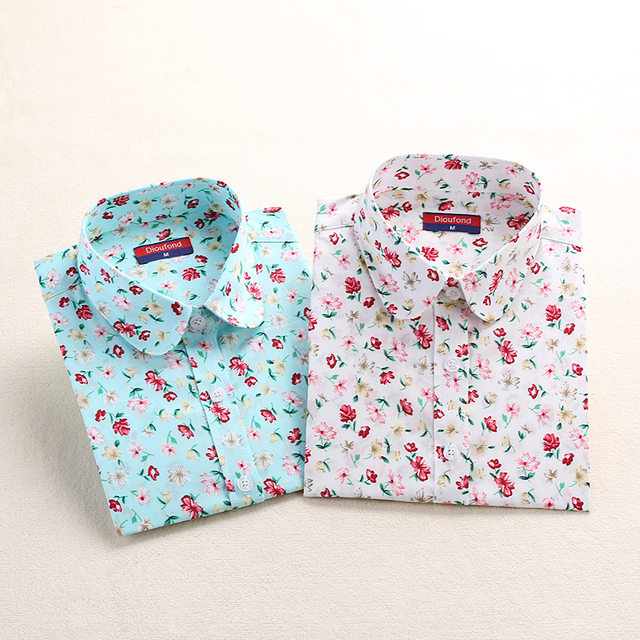 Dioufond New Women Print Blouses 2017 Cotton Floral Ladies Tops Long Sleeve Blusas Femininas Plus Size Women Clothing Fashion