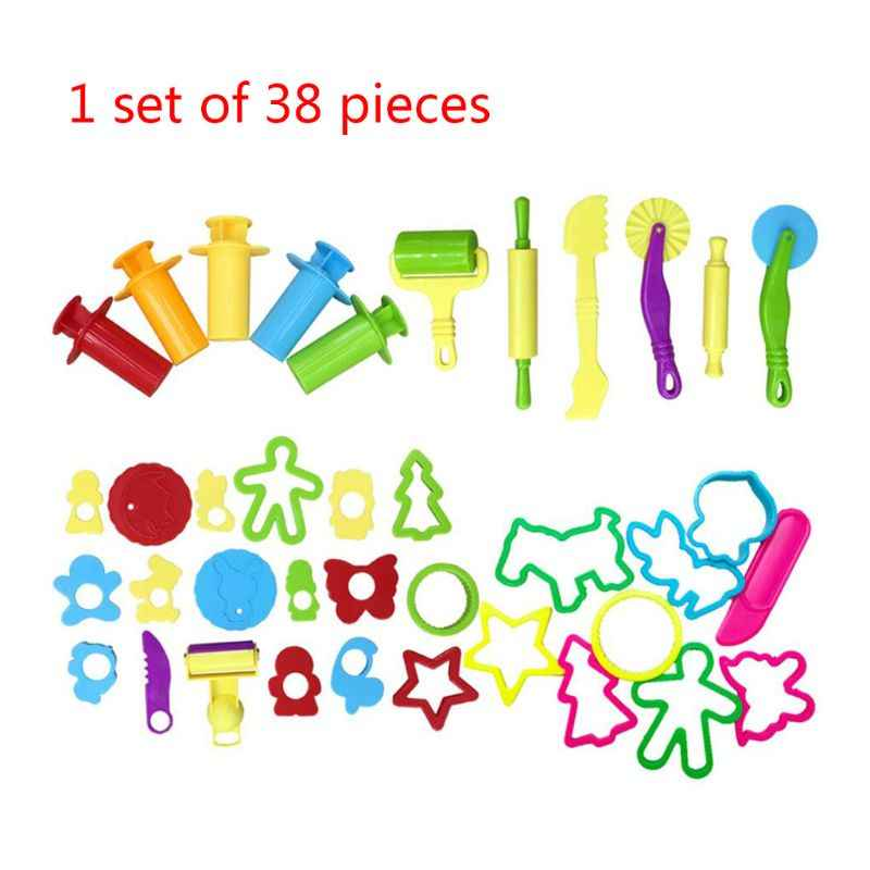 Set of 38 Various Shapes Assorted Colors Play Dough Clay Plasticine Tools Molds Cutters,Clay Dough Tool,Education Tool