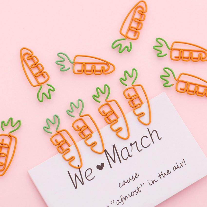 50pcs/lot New Carrot Shape Metal Bookmark Mini Paper Clip Book Markers School Office Supply Wholesale