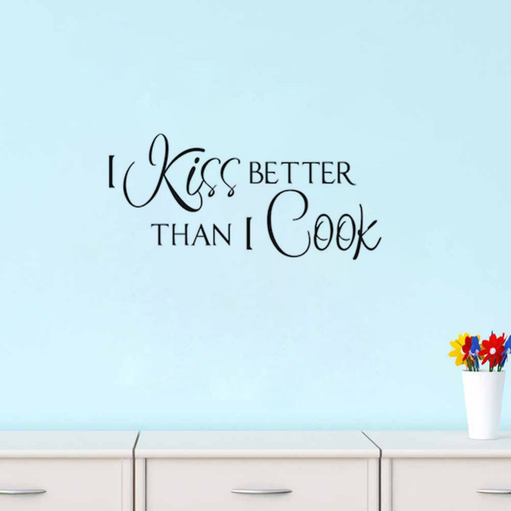 I Kiss Better Than I Cook Kitchen Wall Decal Quote Wall Stickers Home Decor Living Room