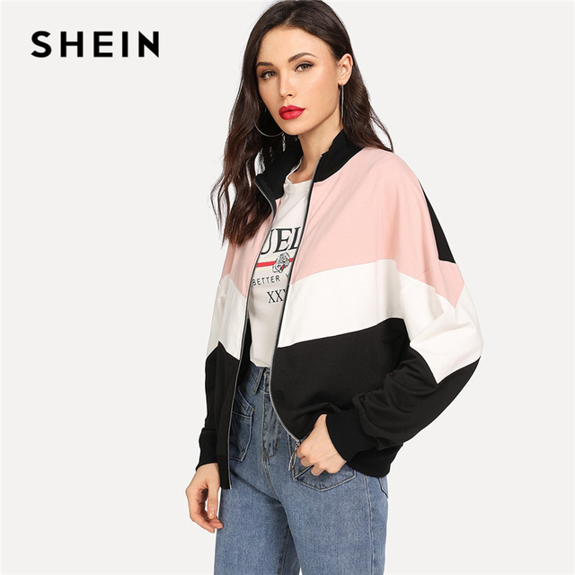 SHEIN Multicolor Preppy Minimalist Drop Shoulder Cut And Sew Colorblock Casual Jacket 2018 Autumn Elegant Women Coat Outerwear