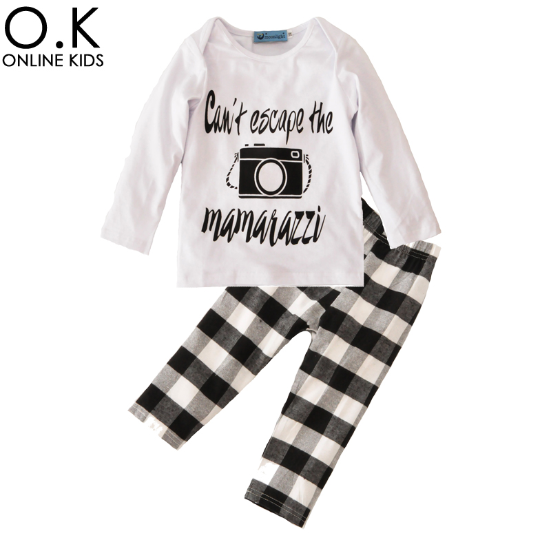 Toddler Boys Clothing Set 2017 Autumn Cartoon Camera T Shirts+Plaid Pants Baby Clothes Fashion Brand Letter Boy Clothing Sets 2pcs set baby clothes set boy
