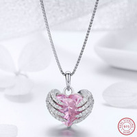 Guardian Heart Pendant Statement Collar with Pink CZ 925 Sterling Silver New Fashion Necklaces & Pendants Luxury Choker LJ&OMR
