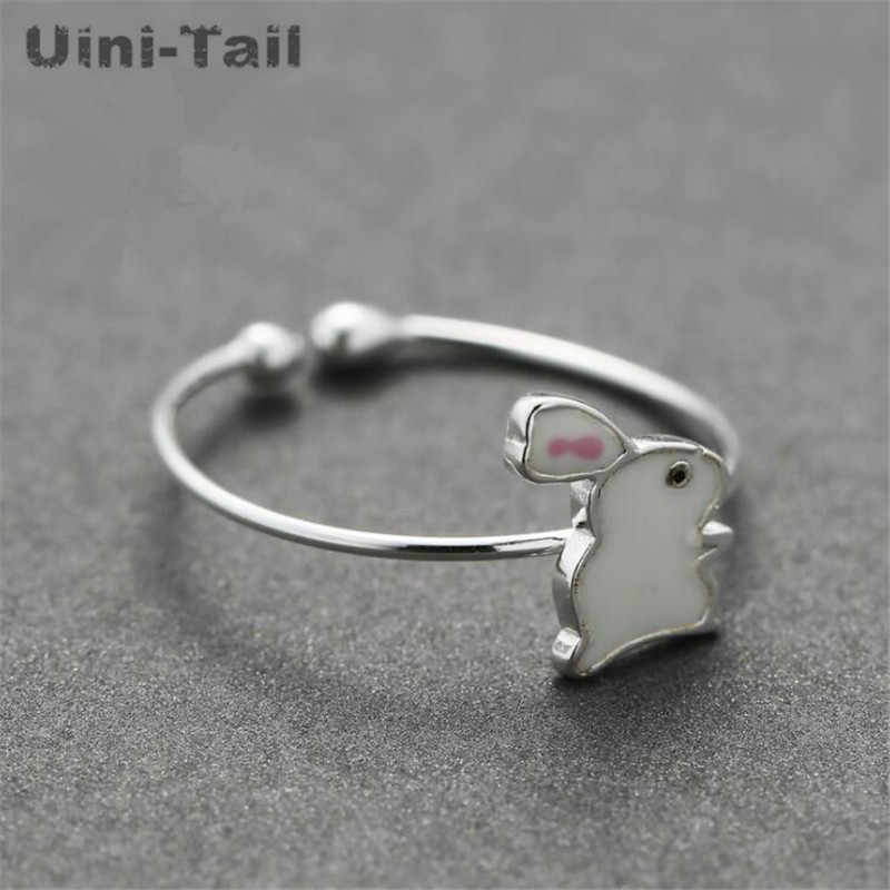 Uini-Tail hot new 925 sterling silver ice cream love opening ring female small fresh heart-shaped mosaic hit color tail ring