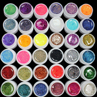 36 Pots Glitter UV Gel Nail Polish 36 Mix Color Glitter Powder Nail Gel For Women