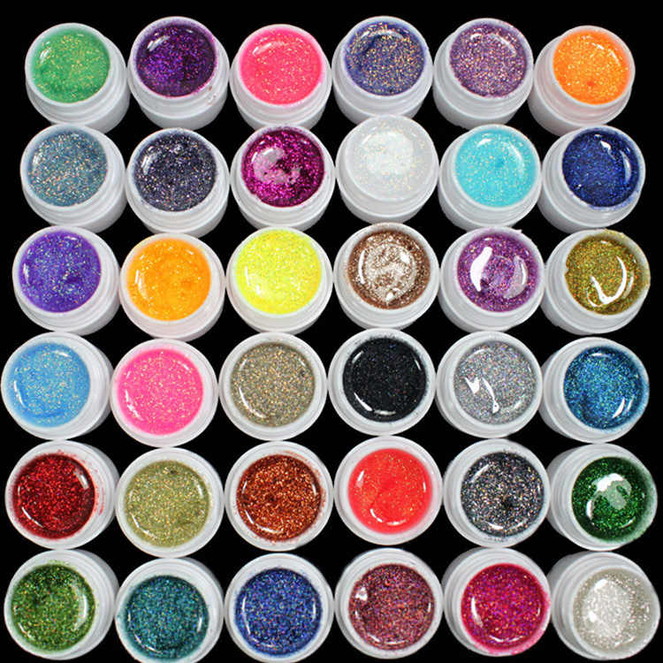 36 Warna Set Glitter Bubuk Acrylic Uv Gel Nail Polish Rendam Off Uv Gel Pembangun Colorful Gel Polish Nail Art perlengkapan