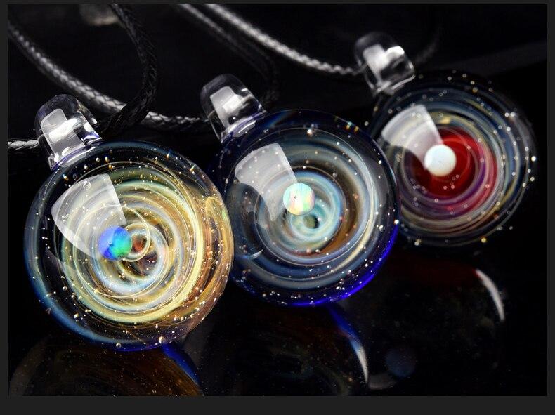 Luxus Personalisierte Galaxy Anhänger, Nebula Glasierte Cosmic Kreative Glas Galaxy Halskette Seil Schöne Glück mit geschenk box