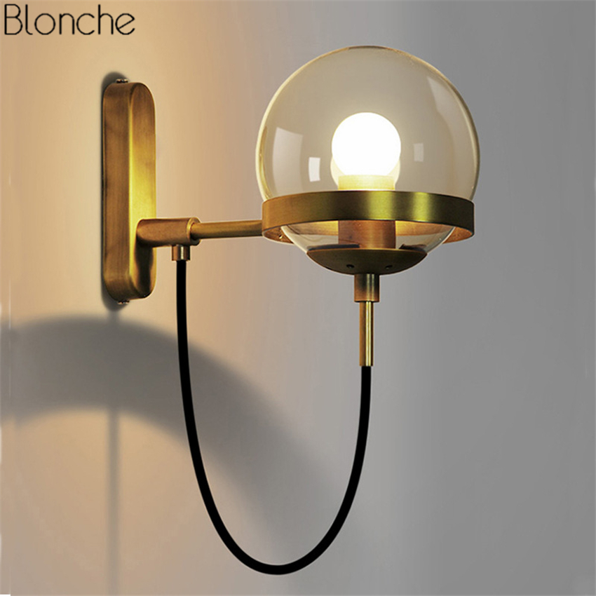 LED Wall Lamp Glass Ball Lampshade Wall Sconce Modern E27 Lights for Living Room Bedroom Bedside Lamps indoor Lighting Fixtures chandeliers lights led lamps e27 bulbs iron ceiling fixtures glass cover american european style for living room bedroom 1031