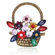 Pretty Flowers Basket Brooches with Colorful Shiny Rhinestones Women Girls Brooch Pins Fashion Jewelry Wedding Decoration