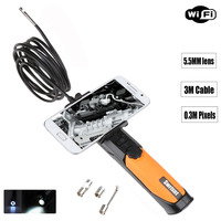 Smart Phone Support WIFI Endoscope Video Inspection Camera Borescope Endoscope SnakeScope 5 5mm Diameter 3M Cable