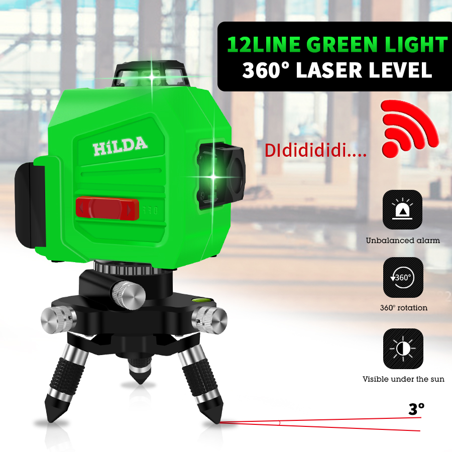 12 Lines 3D Laser Level Self Leveling 360 Horizontal And Vertical Cross Super Powerful Green Laser Beam Line12 Lines 3D Laser Level Self Leveling 360 Horizontal And Vertical Cross Super Powerful Green Laser Beam Line
