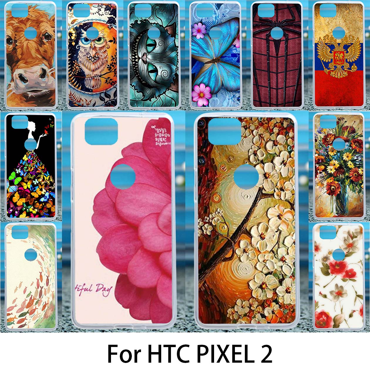 Case Soft For HTC Pixel2 Cases Google Pixel 2 Silicon Cover DIY Painted Anti-Knock Covers