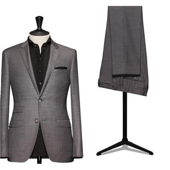 Fashion classic men's suit gray lapel single breasted men's prom dress and office suits (jacket + pants) custom made
