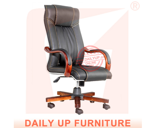 High Back Executive Office Chair With Wood Base Boss Luxury Pu Recliner Antique Swivel