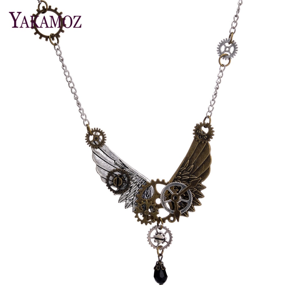 New Fashion Feather Pendant Steampunk Gears Vintage Silver Pendant Chain Necklace For Women Jewelry Gift Men