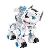 Rc 로봇 지능형 순찰 시뮬레이션 개 음악 빛으로 걷기 및 춤 로봇 어린이를위한 우수한 선물 취미 장난감