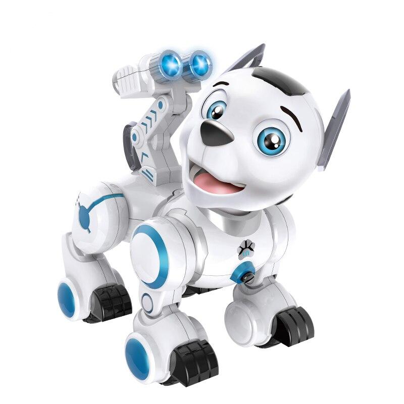 Robot RC Intelligent patrouille Simulation chiens marche et danse Robots avec lumière de la musique Excellent cadeau pour les enfants jouet de passe-temps