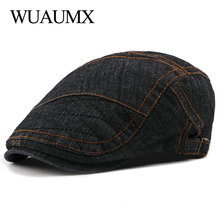 Wuaumx NEW Casual Western Style Men Berets Hats Women Herringbone Caps Cotton Denim Newsboy Cabbie Duckbill Ivy Flat Hat