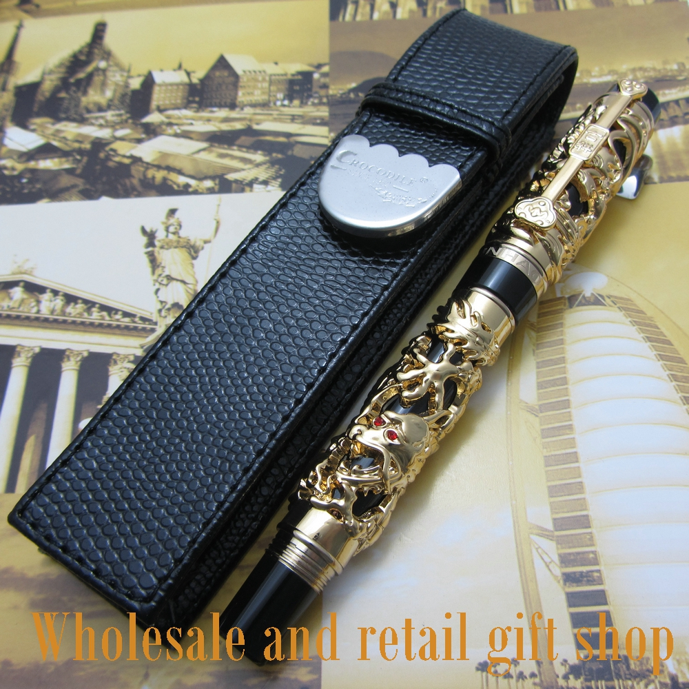 Jinhao Dragon Phoenix Heavy Gold Chinese Classical Luck Clip Fountain Pen and pen bag цена