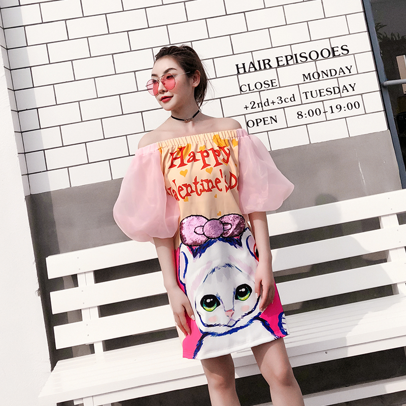 39945b9f16 US $25.9 35% OFF|7mang 2018 new summer women cute pink cartoon cat printing  dress slash neck straight sequins puff sleeve-in Dresses from Women's ...