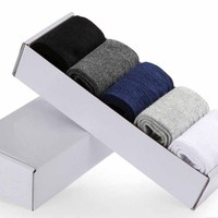 5 Pairs Box Pack Cotton in the tube Business Men Socks Solid Color Four Seasons Universal Male Socks Adult Socks LR50