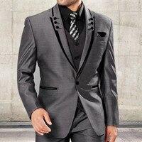 Erkekler Slim Fit Doruğa Yaka Smokin Gri Düğün Takımları Suits Erkekler Için Siyah Yaka Groomsmen Suits Bir Düğme ile 3 parça