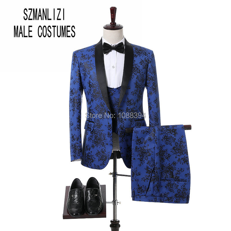 SZ Elegant Men Suits 2018 Custom Made Real Blue And Black Floral Blazer Slim Fit Prom Suits Men Groom Wedding Suits Male Tuxedos
