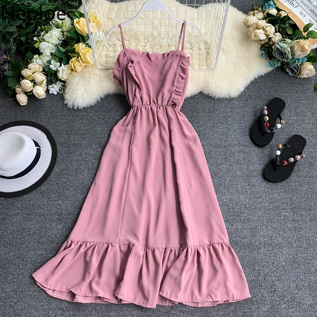 2019 Summer Solid Women Dress  1