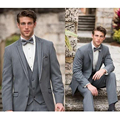 2016 Custom Made Groomsmen Light Gray Tuxedos Groom Suits Wedding Best Men's Party Business Suit