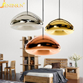 Modern Bowl Mirror Glass LED Pendant Light Void Lamp Colored Glass Hanging Lamps For Cafe Bar Store Coffee Shop Bedroom