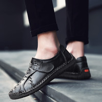 2018 Summer Luxury brand Split Leather Shoes Men Flats Moccasins Breathable Casual Shoes Sneakers Male Footwear Loafers Shoes