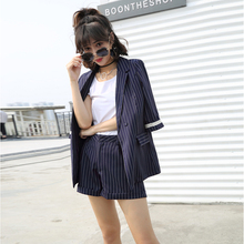 Set female 2018 summer new style casual seven sleeves striped suit + shorts fashion two-piece suit temperament elegant suit